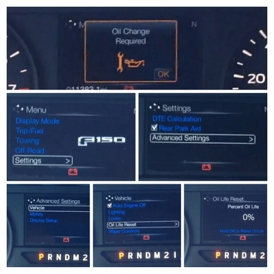 2018 Ford F150 Series Oil Life Change Required indicator Light Reset